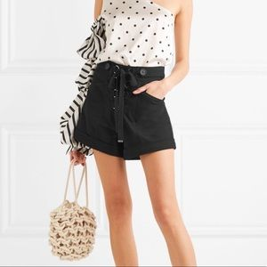 Self Portrait Lace Up High Waisted Canvas Shorts 6